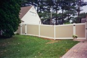 6' Newport white rails and posts and almond pickets